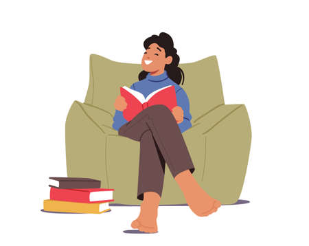 Kid Studying, Schoolgirl Learning, Read Fairytale Story. Girl Character Reading Book Sitting on Armchair at Home or Library