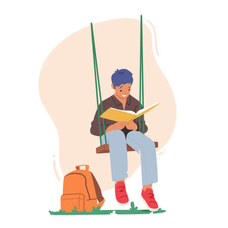 Kid Character Reading Interesting Book Sitting on Swing Hanging at Tree, Relaxing or Prepare for School Examinations Ilustração