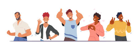 Happiness Emotions, Body Language. People Showing Positive Gestures. Happy Male and Female Characters Gesturing Ilustração