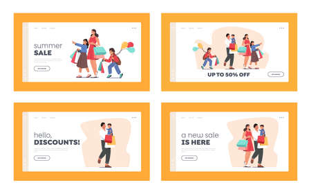 Happy Family Shopping Landing Page Template Set. Father, Mother and Kids Holding Bags and Balloons Visit Supermarket