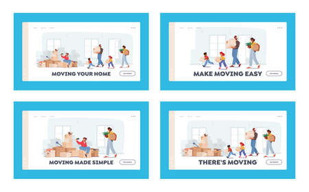 Happy Family Relocation Landing Page Template Set. Mother, Father and Kids Moving into New House. Characters Carry Boxes