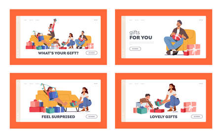 Festive Event Celebration Landing Page Template Set. Parents and Kids Change Present on Holiday. Birthday, Loving Family