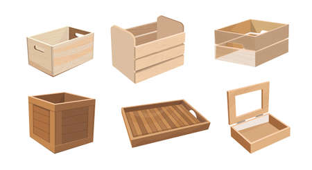 Set of Wooden Boxes, Wood Drawers and Crates for Freight Shipping. Cargo Distribution Packs. Parcels for Goods Packaging