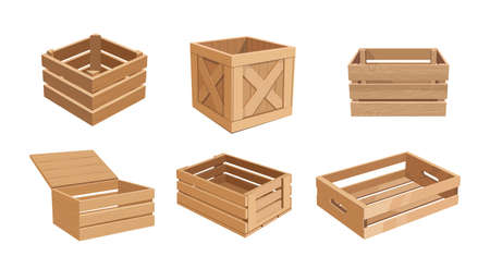 Set of Wooden Boxes, Cargo Distribution Packs. Parcels for Goods Packaging, Isolated Pallets, Empty Wood Containers