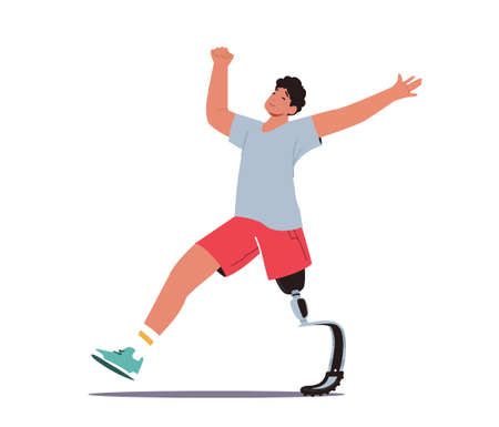 Disabled Athlete Character Run Training, Sportsman with Bionic Leg Prosthesis Jogging, Post-Accident Recovery, Rehab