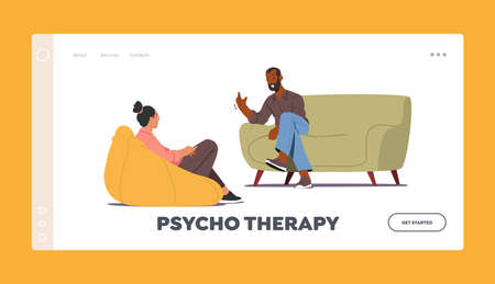Psychotherapy Landing Page Template. Doctor Talking with Patient about Mind Health Problem. Psychologist Appointment