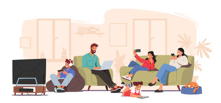 Family Characters Suffering of Social Media Internet Addiction Concept. Parents and Children Sitting Together at Home