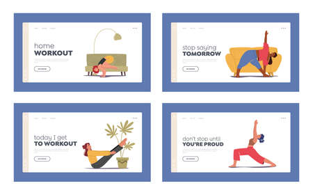 Characters Sport Activity Landing Page Template Set. People Doing Sports Training, Stretching Exercise, Fitness Workout