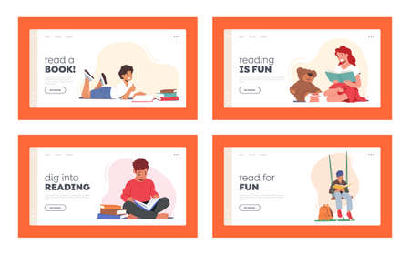 Kids Reading Book Landing Page Template Set. School Education, Knowledge. Boys and Girls Characters Studying, Library