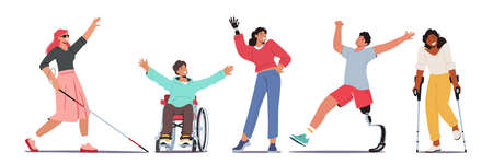 Set Disabled Characters Blind Woman with Cane, Man in Wheelchair, Woman with Robotic Hand Prosthesis, Girl on Crutches Ilustração