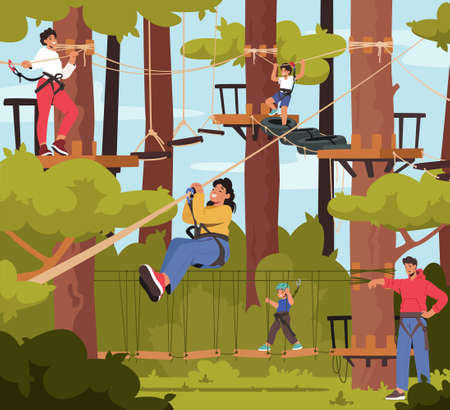 Family in Rope Park, Father, Mother and Children Characters Overcome Obstacles, Climb on Trees, Cross Suspended Bridge