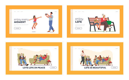 Happy Family Landing Page Template Set. People Walking in Park, Girl Posing for Father, Granny and Boy Eat Ice Cream