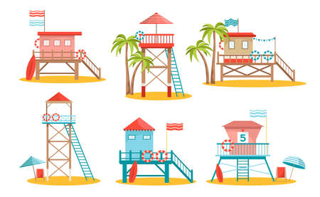 Set of Lifeguard Station Towers Isolated on White Background. Rescue Beach Watchtower Buildings with Ladder and Lifebuoy Ilustração