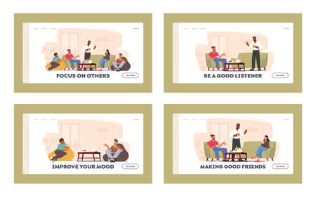 Home Party Landing Page Template Set. Group of Characters Celebrate Sitting at Table in Living Room Eating Cookies Ilustração