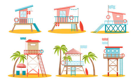 Set Lifeguard Station Towers, Rescue Beach Watchtowers Buildings on Piles with Lifebuoys, Flags and Unbrella with Chairs