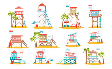 Set of Lifeguard Station Towers, Rescue Beach Watchtower Buildings with Ladder, Flag and Lifebuoy on Sandy Ocean Shore Ilustração