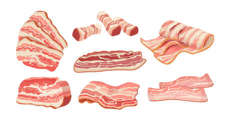Set of Bacon Slices, Thin Strips, Delicious Food for Breakfast. Rashers, Raw or Smoked Fatty of Pork Meat, Tasty Snack