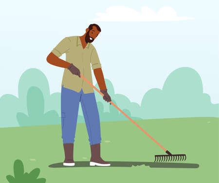 Gardening or Farming Concept. Man Gardener Character Rake Soil Care of Plants, Weeding Garden Bed. Farmer on Farm