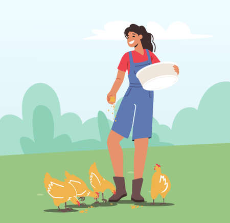 Young Woman in Working Robe Feeding Fowl on Nature. Female Farmer, Villager Character at Work. Girl Care of Birds Ilustração