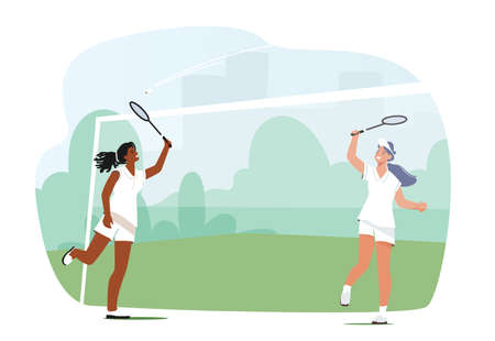 Girls Playing Badminton, Female Players Jumping Get Ready to Smash Shot, Young Women Hit Shuttle with Racket on Court