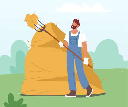 Farmer Holding Pitchfork and Sticking it into Haystack. Villager Male Character Work at Summertime in Village or Farm