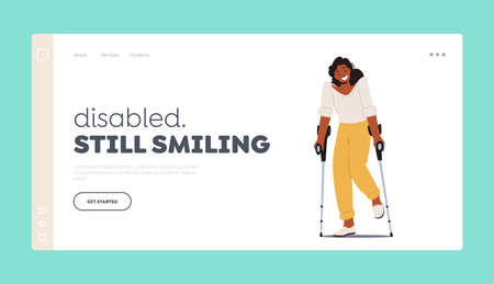 Disabled Woman Character Stand on Crutches Landing Page Template. Patient Rehabilitation after Accident, Handicapped Ilustração