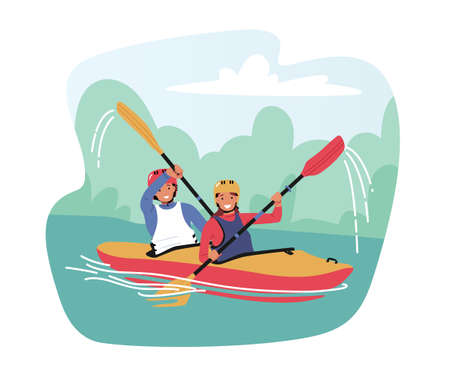 Kayaking or Rafting Sport Competition. Sportsmen Rowing in Kayaks at River Stream. Wild Nature and Water Fun on Vacation