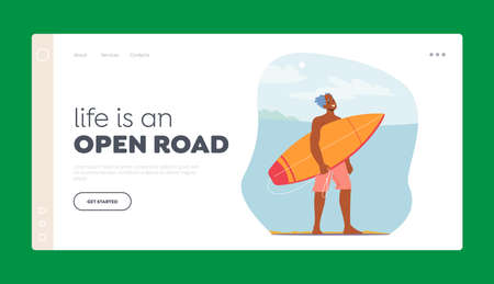Senior Man Surfing Landing Page Template. Old Character on Ocean Beach with Surf Board in Hands. Sportsman Sparetime
