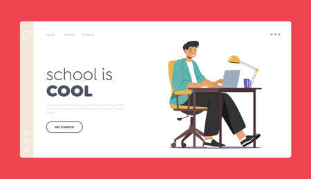 Education, Learning in University or College Landing Page Template. Student Character Work on Laptop Sit in Dormitory Ilustração