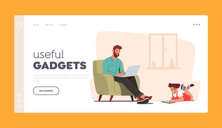 Useful Gadgets Landing Page Template. Girl and Father Using Laptop and Tablet Dad and Daughter Internet Surfing
