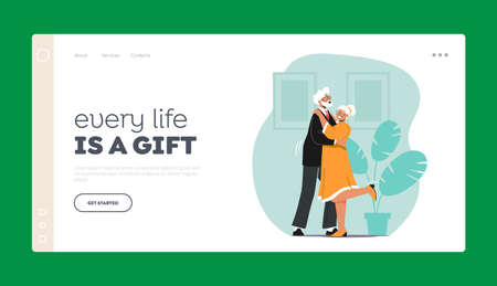 Senior Characters Couple Dancing Landing Page Template. Elderly People Active Lifestyle, Old Man and Woman Dance Leisure Ilustração