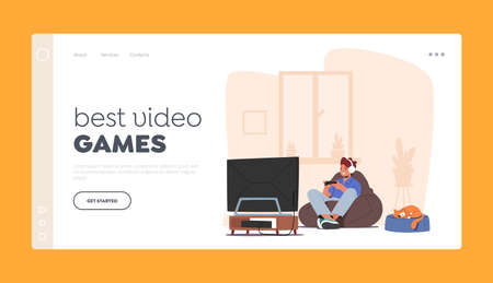 Boy Playing Video Games Landing Page Template. Happy Child Character in Headset Sitting front of Tv Set with Joystick Ilustração