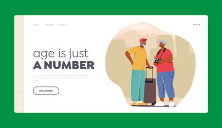 Senior Tourist Characters in Trip Landing Page Template. Elderly People Traveling with Photo Camera and Luggage Journey