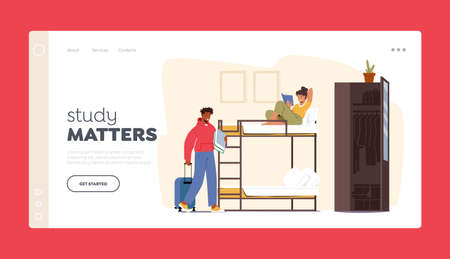 Friends Sharing Room Landing Page Template. Dormitory Roommates Characters Live Together. Woman Read on Bunk Bed