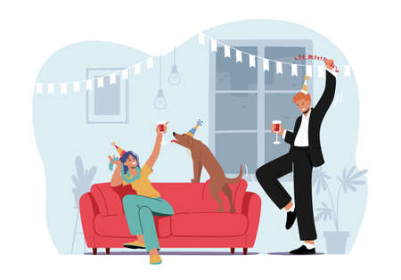 Young Characters Celebrate Home Party Sitting at Couch in Living Room with Funny Dog Drinking Cocktails or Alcohol Ilustração