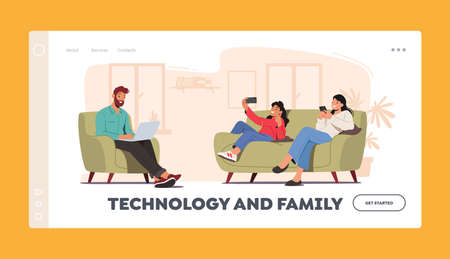 Technology and Family Landing Page Template. Characters Mother, Father and Daughter with Digital Devices Use Internet