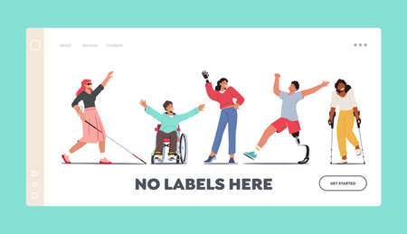 Disabled Characters Landing Page Template. Blind Woman with Cane, Man in Wheelchair, Woman with Hand Prosthesis