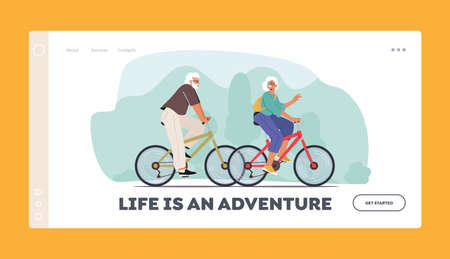 Seniors Riding Bicycles Landing Page Template. Man and Woman Pensioner Active Lifestyle, Aged People Extreme Activity