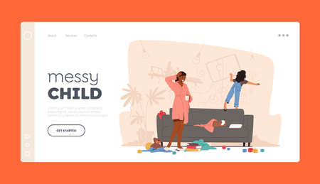 Messy Child Bad Behavior Landing Page Template. Mother Character Shocked with Little Girl Painting on Wall, Naughty Kid