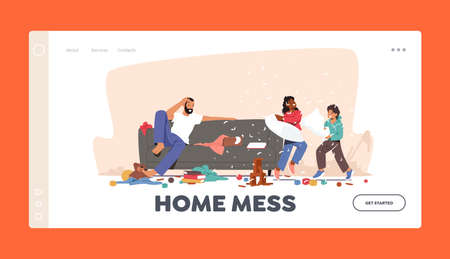 Home Mess Landing Page Template. Father Shocked with Kids Bad Behaviour Naughty Hyperactive Children Fighting on Pillows Ilustração