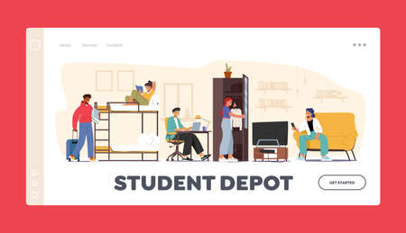 Student Depot Landing Page Template. Characters in Dormitory Room Sleeping, Studying in Academic Year. Alternative Home