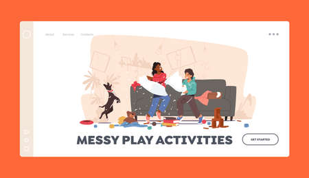 Messy Play Activities Landing Page Template. Naughty Hyperactive Children Characters Fighting on Pillows Making Mess Ilustração