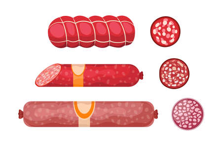 Salami, Pepperoni Smoked Sausage, Premium Meat products Whole and Sliced Kielbasa. Delicatessen Production, Meal, Wurst