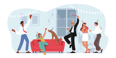Home Party with Friends, People Meeting, Celebrate Birthday or Corporate in Room. Young Women and Men in Funny Hats Ilustração