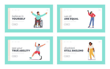 Disabled Characters Landing Page Template Set. Blind Woman with Cane, Man in Wheelchair, Woman with Hand Prosthesis