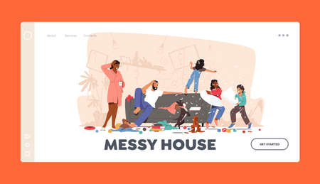 Father and Mother Shocked with Home Mess Landing Page Template. Naughty Hyperactive Children Characters Fighting