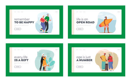 Senior Characters Active Lifestyle Landing Page Template Set. Aged Man Woman Jogging Exercises, Surfing Sports, Dancing