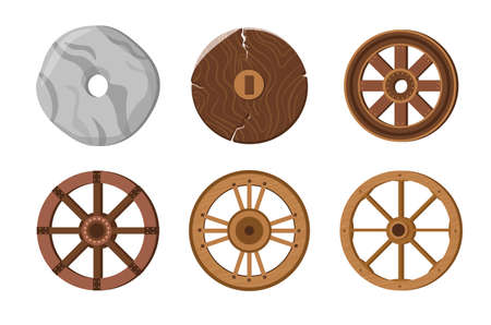 Old Wheels, Primitive Stone Ring, Ancient Transport Wheels for Wooden Cart or Chariot. History Invention, Evolution
