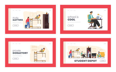 Student Dormitory Landing Page Template Set. Characters in Room Sleeping and Studying in Academic Year. Alternative Home Ilustração