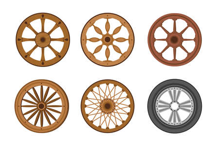 Wheels Evolution from Old Ancient Wooden Ring to Modern Transport Wheel. Transportation History Invention, Progress